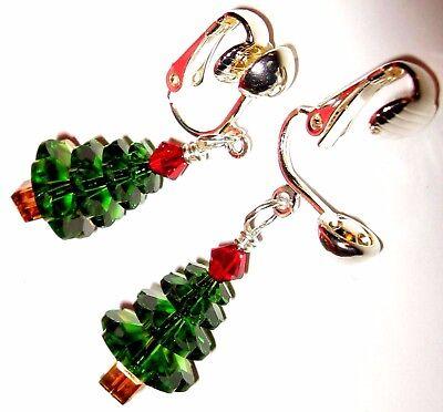 Green Artisan USA Silver Clip On Kirsten EARRINGS Christmas Tree Crystal Red USA