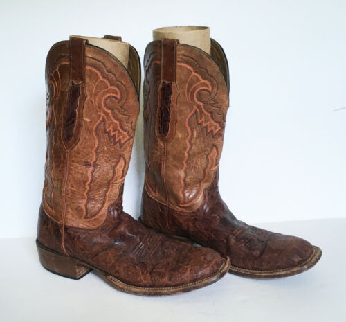 VTG Lucchese Cowboy Exotic Boots SIZE 9D 9 D CY7325 Square Toe WORN USED