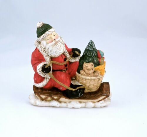 VTG Santa Claus on Sled with Toys Cast Iron Door Stop Painted Christmas Holiday
