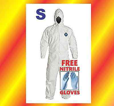 Small Hood Tyvek Protective Coverall Suit Hazmat Chemical Free Nitrile Glove Sm