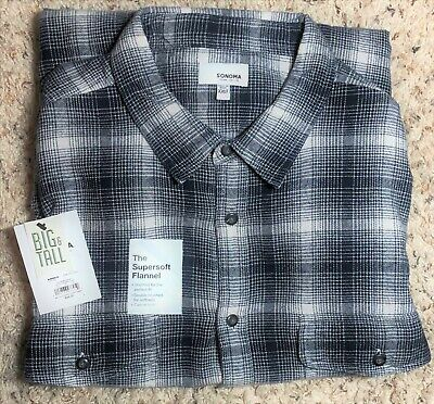 Big&Tall Sonoma Goods for Life Supersoft Flannel Button-Down Shirts,2XLT,2XB,NWT Big Tall Flannel Shirts