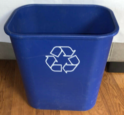 """Rubbermaid(R) Deskside """"We Recycle"""" Container, 7 Gallons, 14 1/4""""H x 15""""W x 10 1"""