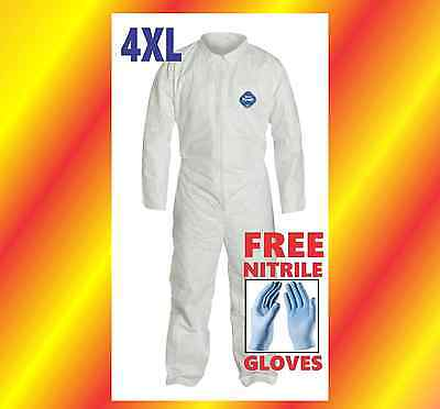 4xl Tyvek Protective Coveralls Suit Hazmat Clean-up Chemical Free Nitrile Gloves
