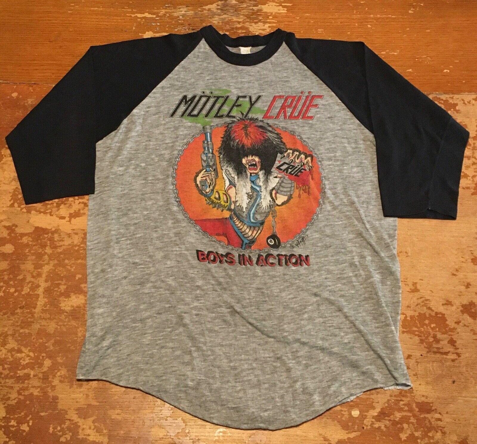 Vintage original 1983 Motley Crue concert tour shirt T-shirt Iron Maiden Ratt