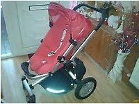 Pram and pushchair. Parent or forward facing, 2 raincovers and adapters included.