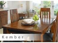 Kember Large Acacia Wood dining table with 6 chairs