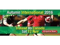 2 X IRELAND V CANADA RUGUBY TICKETS - GREAT SEATS **** (PREMIUM LEVEL - FRONT ROW) SAT 12/11/16