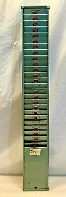 Vtg Metal Punch Time Card Holder Wall Mount 25 Slot Office Warehouse Payroll