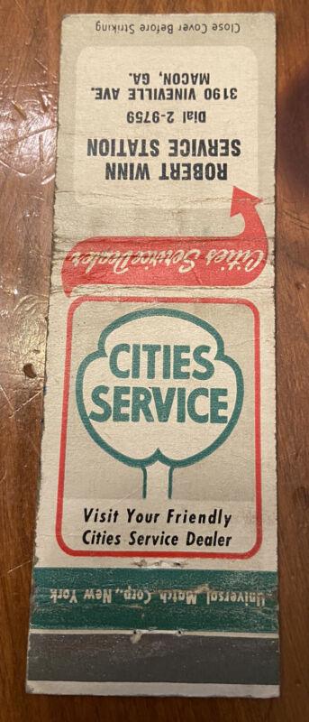 Cities Service Gasoline Matchbook Robert Winn Service Station Macon Georgia