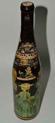 Nice Vintage Handmade Funny 1970s Risque Decoupage Wine Bottle Art Rare