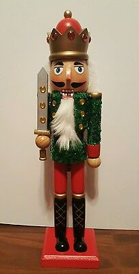 "Soldier Nutcracker 15"" Green Sequins Red Gold 15"" Christmas Holiday Decor NEW"