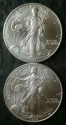 1997 and 1999 $1 American Silver Eagle Dollars