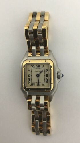 $1995.00 - Cartier Panthere Woman's Watch 22mm Gold Steel Three Row