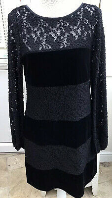 Jessica Howard Black Lace And Velvet Panel Dress Size 12 With Black Petticoat