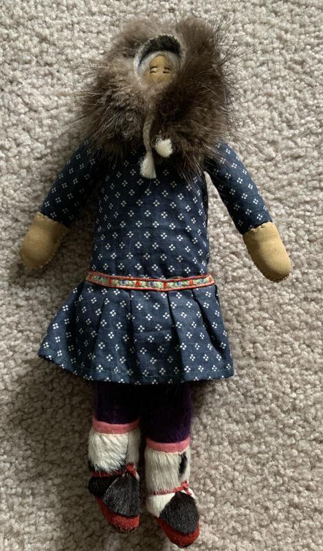 Alaskan Native American Indian Eskimo Yup'ik Inupiaq Doll Fur Leather Kuspuk