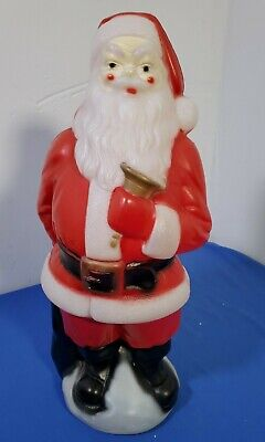 Vintage 1969 Empire Plastics Blow Mold Santa Claus Holding a Bell Yard