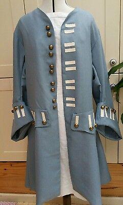 Mens Frock coat Regency pirate fancy dress theatrical costume blue grey