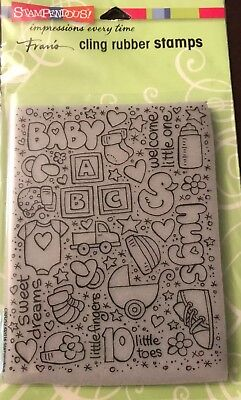 """STAMPENDOUS Cling Rubber Stamps Baby Shower """"Welcome Little One"""" (Baby Shower Postage Stamps)"""