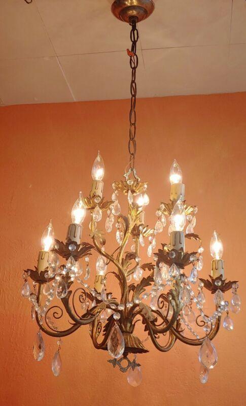 Vintage Italian Toleware Chandelier Gold Gilt Metal 9 Lights Hollywood Regency