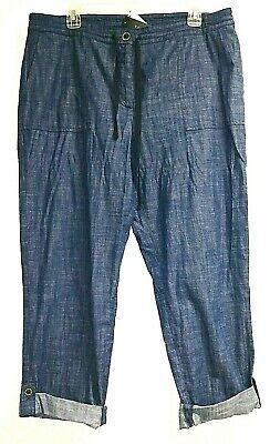 New Talbots Signature Crop Cuffed Pants Size 14 Blue Denim Look NWT Cotton Cuffed Denim Crop Pants