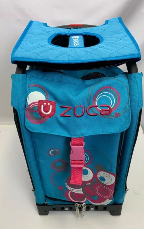 Zuca Rolling Dance Competition Bag- Built-in Seat Blue and Pink