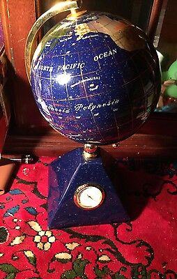 Lapis Inlaid Gemstone Globe Desktop Pyramid Clock