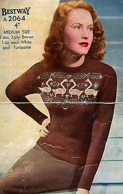 Vintage knitting pattern-how to make a 1940s swan design fair isle jumper