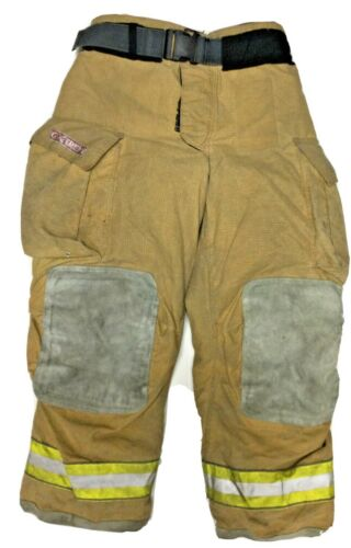 38x30 Globe Gxtreme Brown Firefighter Turnout Pants With Yellow Tape P1246