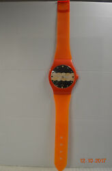 Vintage Quartz Jumbo Oversized Plastic Orange Watch Wall Clock - Made in Taiwan