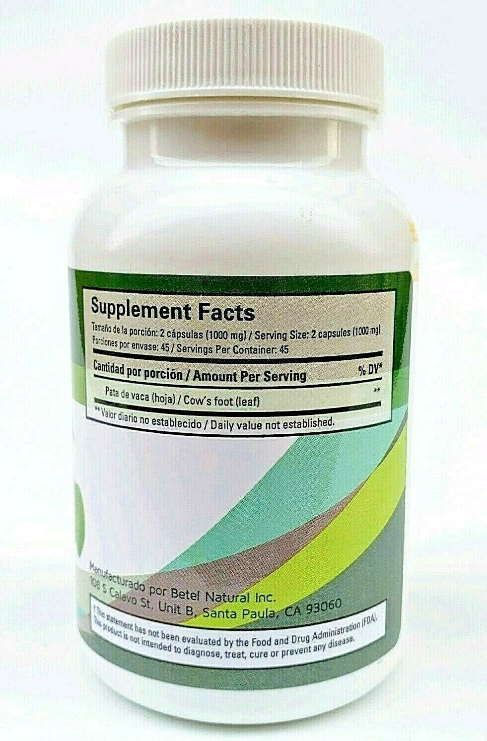 PATA DE VACA (Cow's Foot Leaf) 90 Capsules 1000 MG. Support Glucose Exp 12/2024 3