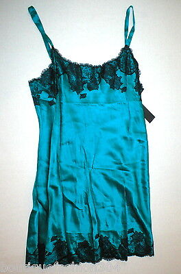 NWT New Designer Josie Natori Night Gown Chemise Aqua Black S Silk Lace Womens