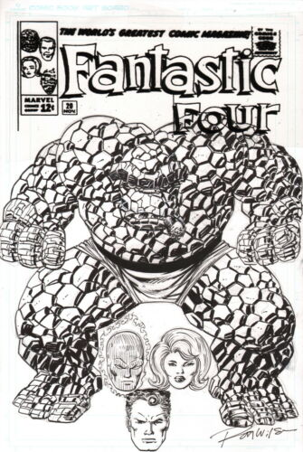 Ron Wilson Original Fantastic Four Art Custom Cover ~ The Thing Invisible Woman