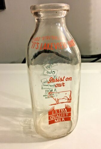 Its Lakeview Dairy Vintage Milk Bottle