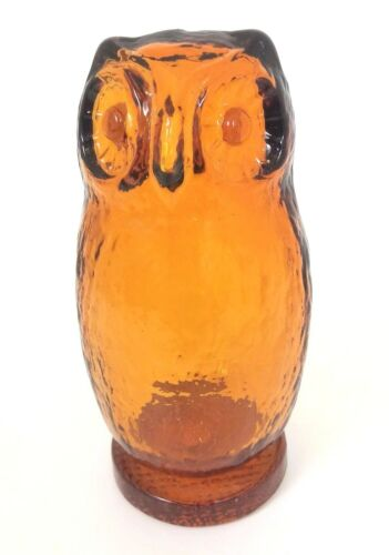 "Vtg 70s Amber Glass Owl Statue Figurine Retro Decor Blown Glass EUC 5.5"" tall"