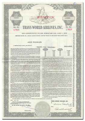 Trans World Airlines, Inc. Bond Certificate (TWA)