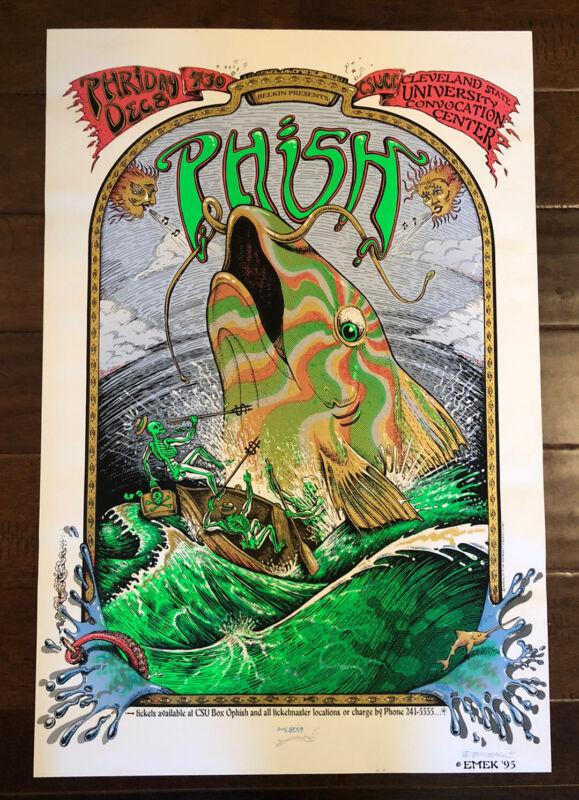 Original 1995 Emek Phish Poster Print Cleveland State 1995 Signed & Doodled