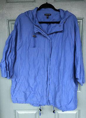 Eileen Fisher Women's Size Large Blue Windbreaker Hooded Jacket Zip Button Combo