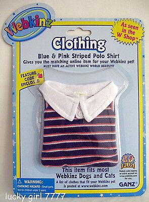 Webkinz Clothing Blue & Pink STRIPED POLO SHIRT w/ code 4 Your Pet FREE US SHIP - Blue Code Clothing