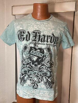 Ed Hardy Men's T-Shirt MEDIUM Green Hawaiian Graphics
