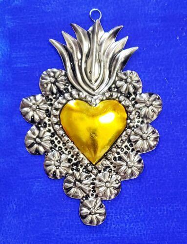 Yellow!!! Handmade Mexican tin sacred heart folk art milagro wall hanging mexico