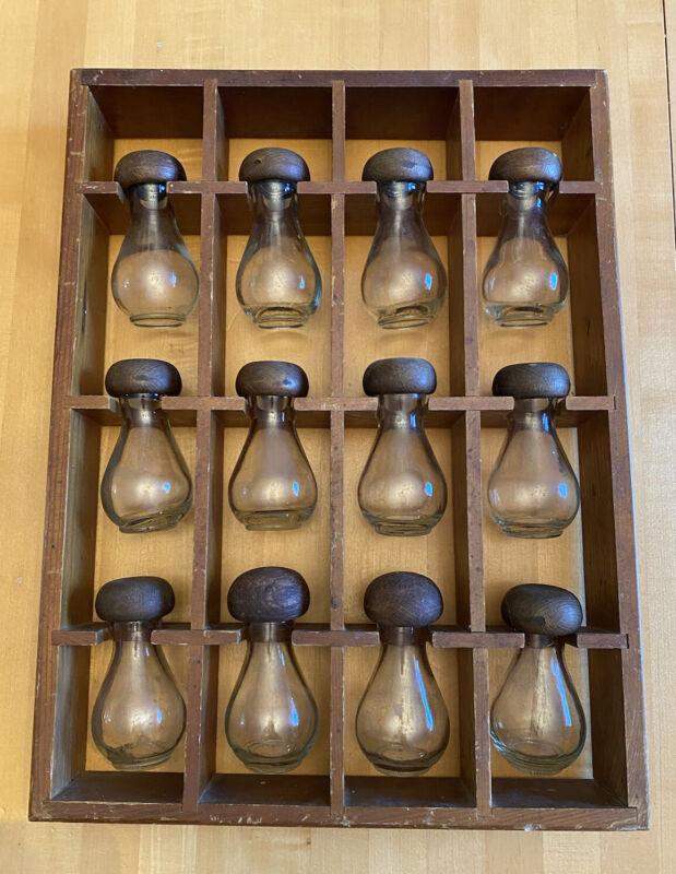 Vintage Wood Wall Hanging Jars Set 12 Spice Rack MCM Mushroom Lid Hourglass