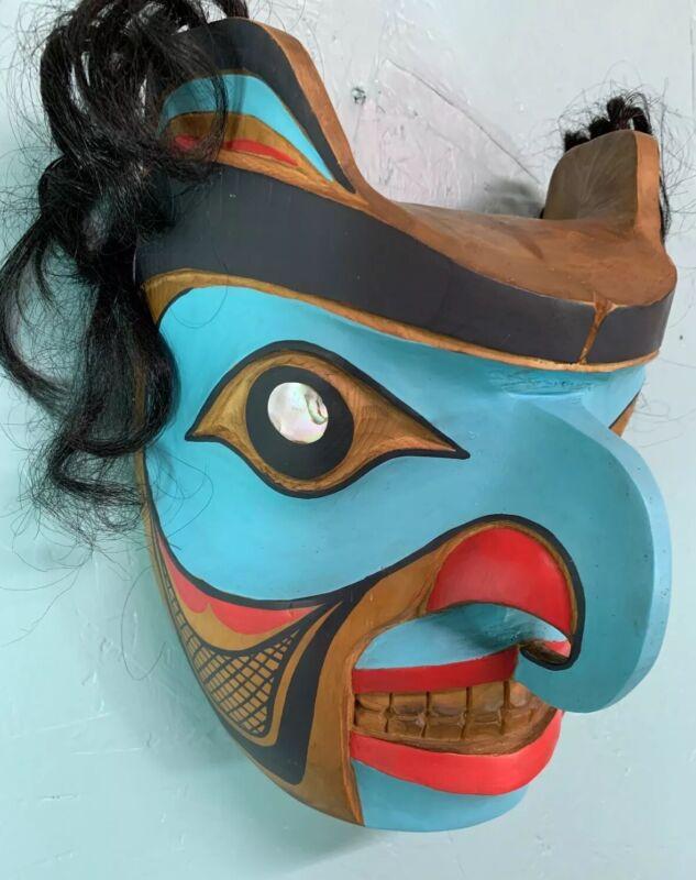 Vintage Northwest Coast Humanoid Eagle Mask Wood Sculpture Abalone Eyes
