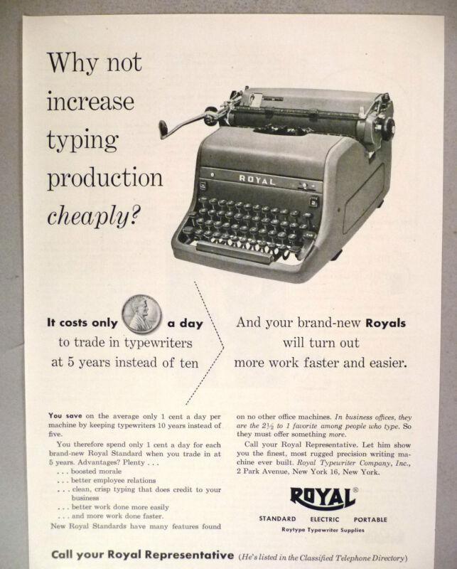 Royal Typewriter PRINT AD - 1953
