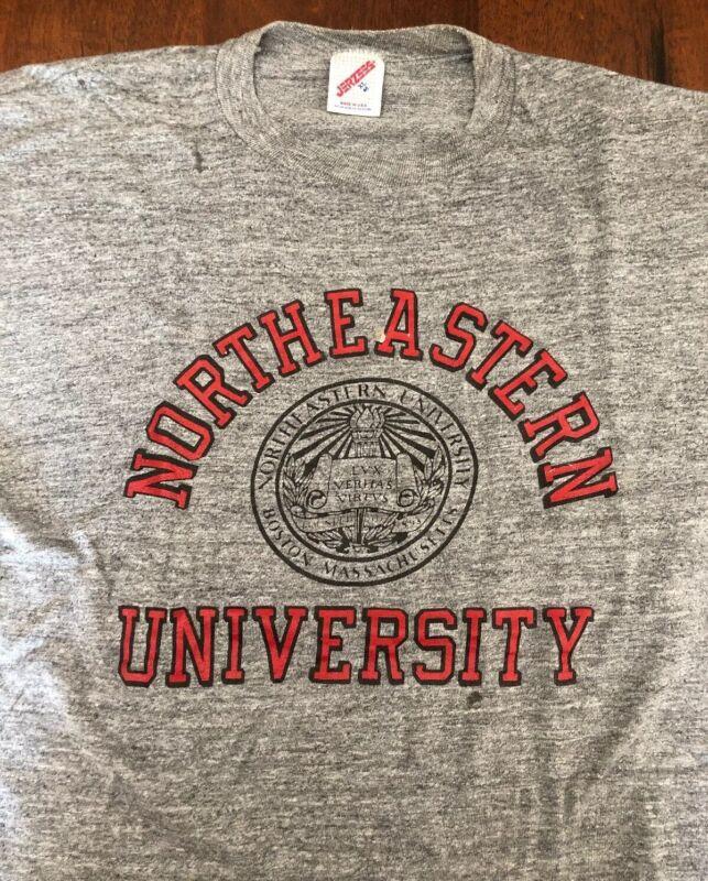VTG Northeastern University T Shirt 80's Rayon Triblend College USA Made Rare OG