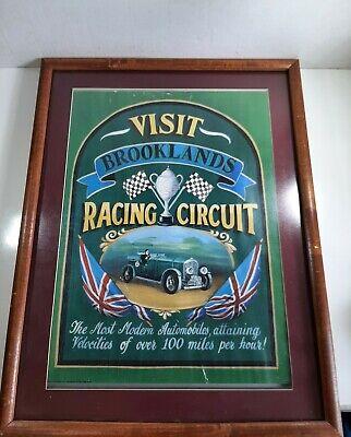 """Visit Brooklands"" Vintage UK Motor Racing Circuit Poster Wall Art Framed 20x15"
