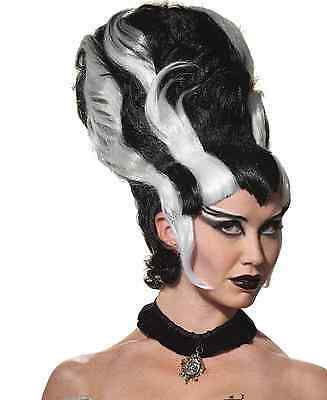 Black & White Monster Wig Tall Beehive Addams Family Parody Deluxe Adult Womens - Beehive Wig Black