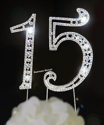 NUMBER 15 QUINCEANERA RHINESTONE BLING CAKE TOPPER FIFTEEN BIRTHDAY SILVER