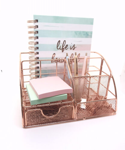 Rose Gold Desk Or Makeup Organizer with Drawer Pen Holder Office Accessories.