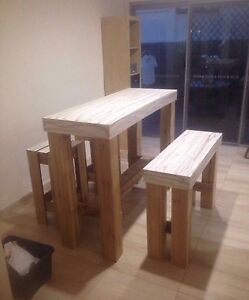 Bar table with matching bench and stools Highland Park Gold Coast City Preview