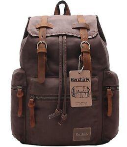 Berchirly Vintage Men Casual Canvas Leather Backpack Rucksack Bookbag Satchel